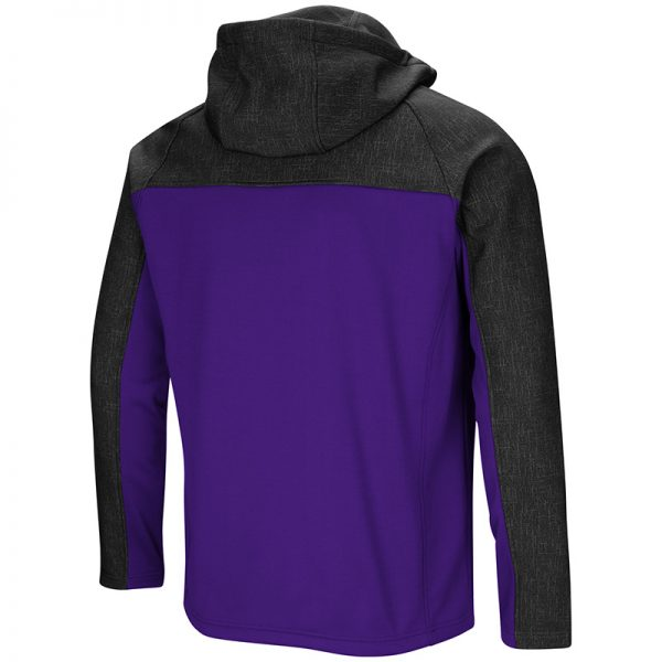 Northwestern University Wildcats Colosseum Mens Purple/Charcoal Hut! Full Zip Hooded Jacket with Stylized N Design-Back