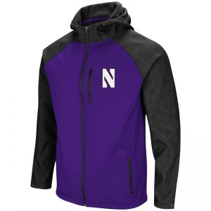 Northwestern University Wildcats Colosseum Mens Purple/Charcoal Hut! Full Zip Hooded Jacket with Stylized N Design