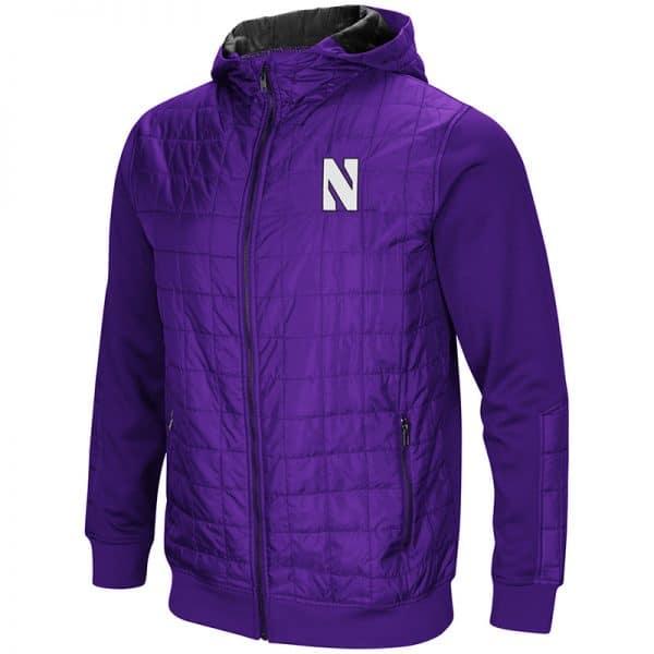 Northwestern University Wildcats Colosseum Men's Purple/Black Linebacker F-Z Puff Hooded Jacket with Stylized N Design