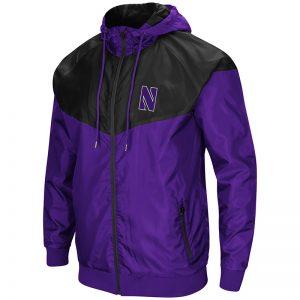 Northwestern University Wildcats Colosseum Men's Purple/Black Galivanting Full Zip Hooded Wind Jacket with Stylized N Design