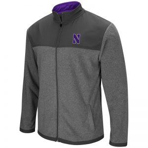 Northwestern University Wildcats Colosseum Men's Heather Charcoal/Charcoal High Quality Full Zip Jacket with Stylized N Design