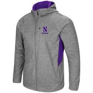 Northwestern University Wildcats Colosseum Men's Heather Grey/Purple Full Zip Hooded Jacket with Stylized N Design