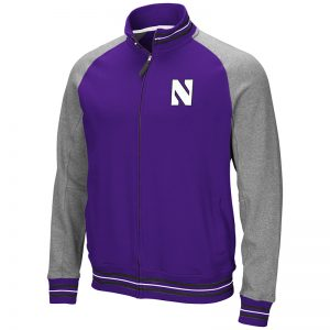 Northwestern University Wildcats Colosseum Mens Purple/Heather Grey Alpine Varsity Full Zip Jacket with Stylized N Design