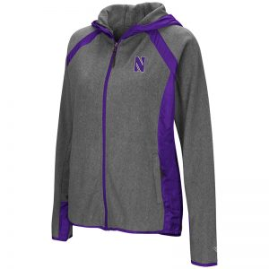 Northwestern University Wildcats Colosseum Ladies Heather Charcoal/Purple Tidwell Full Zip Hooded Jacket with Stylized N Design