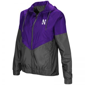Northwestern University Wildcats Colosseum Ladies Purple/Charcoal First Class Windbreaker Hooded Jacket with Stylized N Design