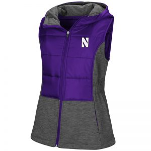 Northwestern University Wildcats Colosseum Ladies Purple/Heather Charcoal Ray Quilted Vest with Stylized N Design