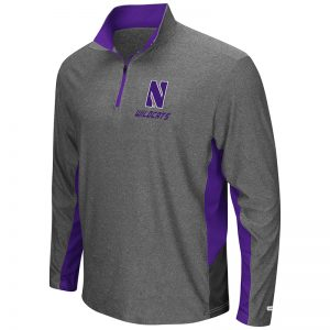 Northwestern University Wildcats Colosseum Mens Heather Charcoal / Purple / Black The Executive Windshirt with Stylized N Design