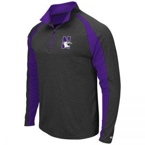 Northwestern University Wildcats Colosseum Men's Heather Purple / Black The J. Peterman Windshirt with N-Cat Design