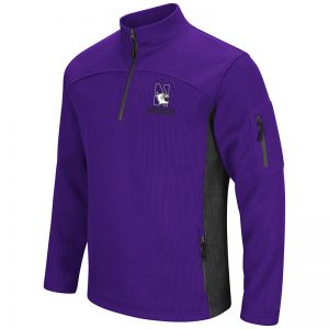 Northwestern University Wildcats Colosseum Mens Purple/Charcoal Advantage 1/4 Zip Jacket with N-Cat Design