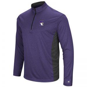 Northwestern University Wildcats Colosseum Men's Heather Purple/Heather Black Audible 1/4 Zip Windshirt with N-Cat Design