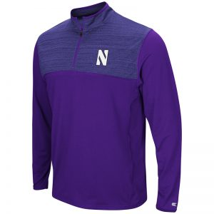 Northwestern University Wildcats Colosseum Men's Purple / Heather Purple Savoy 1/4 Zip Windshirt with Stylized N Design