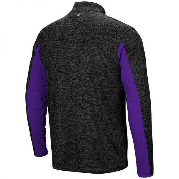 Northwestern University Wildcats Colosseum Men's Black/Purple Astroturf 1/4 Zip Windshirtwith Stylized N Design-Back