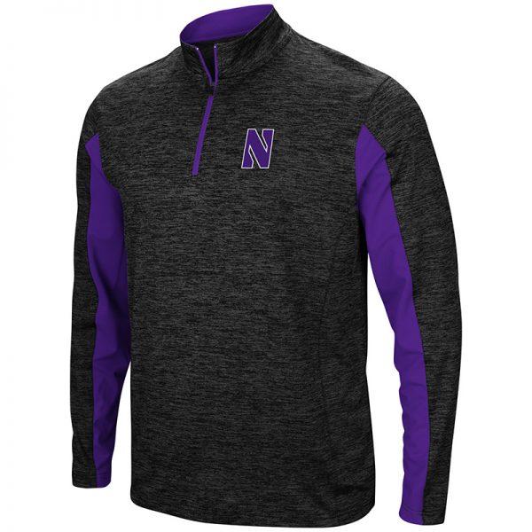 Northwestern University Wildcats Colosseum Men's Black/Purple Astroturf 1/4 Zip Windshirtwith Stylized N Design