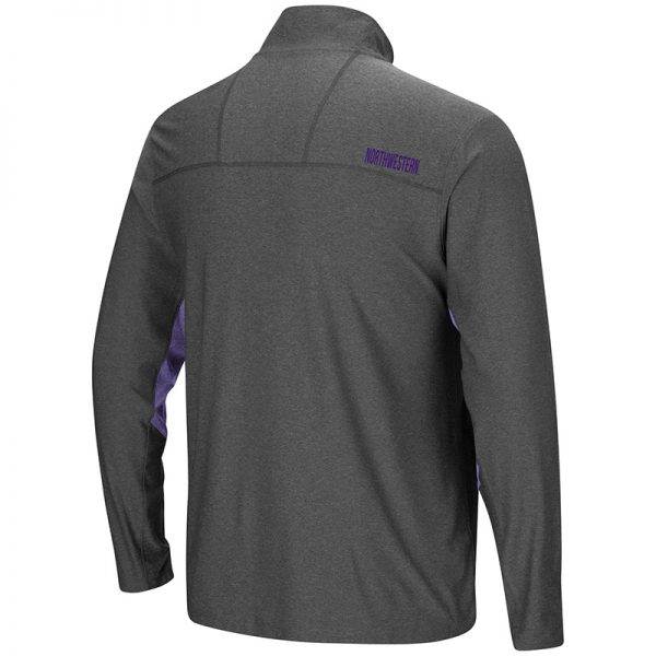 Northwestern University Wildcats Colosseum Men's Charcoal / Purple Sweet Spot 1/4 Windshirt with Stylized N Design-Back