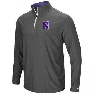 Northwestern University Wildcats Colosseum Men's Charcoal / Purple Sweet Spot 1/4 Windshirt with Stylized N Design