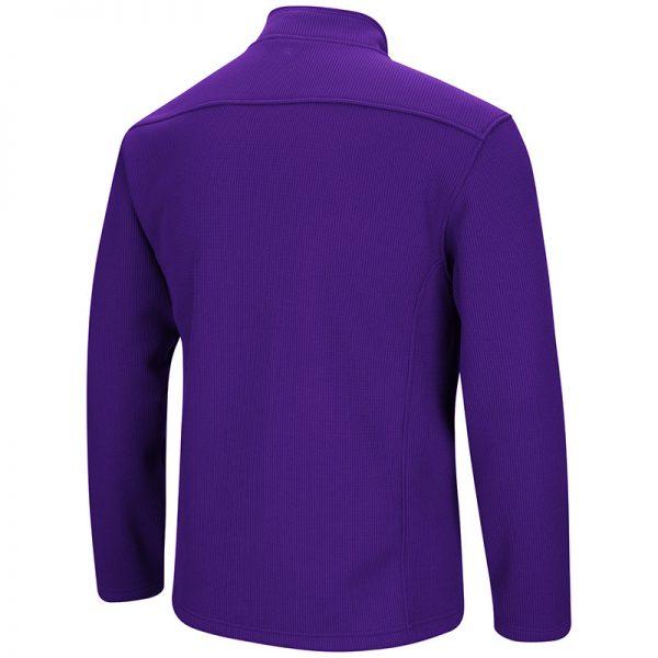 Northwestern University Wildcats Colosseum Men's Purple Townie 1/4 Zip Jacket with Stylized N Design-Back