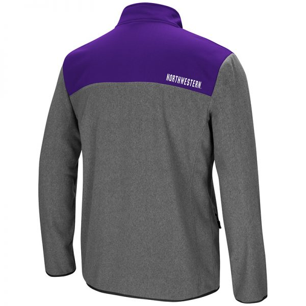 Northwestern University Wildcats Colosseum Men's Heather Charcoal/Purple You Can Do It 1/2 Snap Fleece Jacket with Stylized N Design-Back