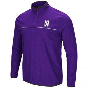 Northwestern University Wildcats Colosseum Men's Purple Philis 1/4 Zip Woven Windshirt with Stylized N Design