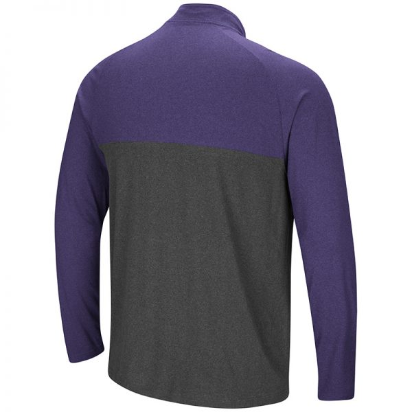 Northwestern University Wildcats Colosseum Men's Heather Charcoal/Heather Purple No Mercy 1/4 Zip Windshirt with Stylized N Design-Back