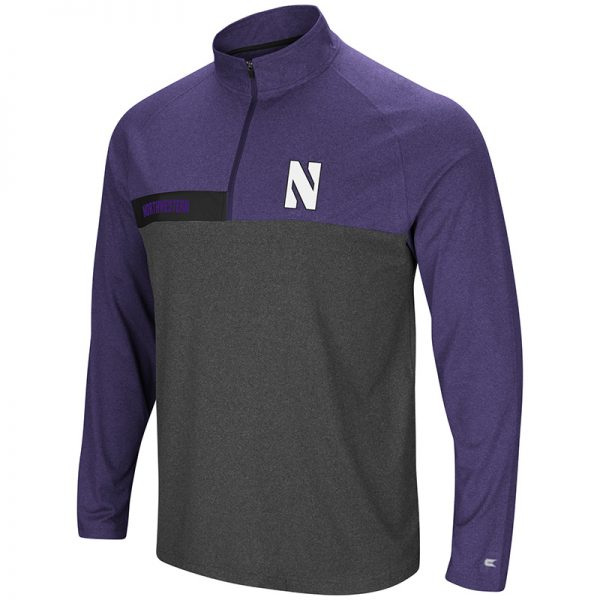Northwestern University Wildcats Colosseum Men's Heather Charcoal/Heather Purple No Mercy 1/4 Zip Windshirt with Stylized N Design