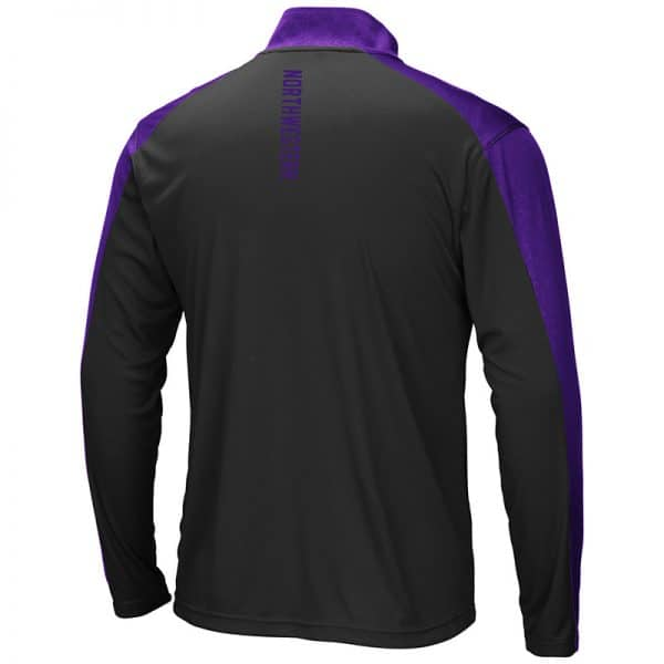 Northwestern University Wildcats Colosseum Men's Black/Purple Luge 1/4 Zip Windshirt with Stylized N Design-Back
