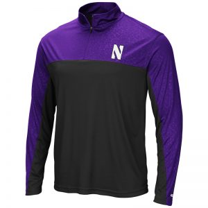 Northwestern University Wildcats Colosseum Men's Black/Purple Luge 1/4 Zip Windshirt with Stylized N Design