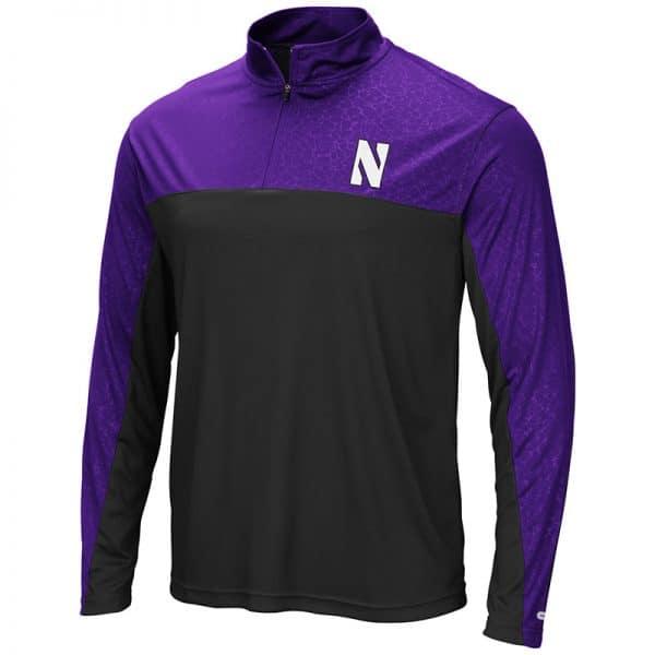 Northwestern University Wildcats Colosseum Men's Black/Purple Luge 1/4 Zip Windshirt with Stylized N Design
