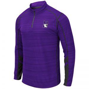 Northwestern University Wildcats Colosseum Men's Purple/Black Suva 1/4 Zip Windshirt with N-Cat Design
