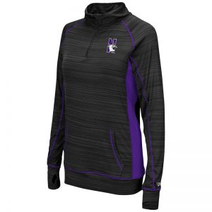 Northwestern University Wildcats Colosseum Ladies Black / Pop Purple Apothecary 1/4 Zip Windshirt with N-Cat Design