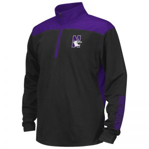 Northwestern University Wildcats Colosseum Youth Black / Pop Purple In The Vault Windshirt with N-Cat Design