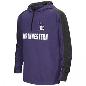 Northwestern University Wildcats Colosseum Youth Heather Purple / Heather Black Hotshot 1/4 Zip Hooded Windshirt with N-Cat Design