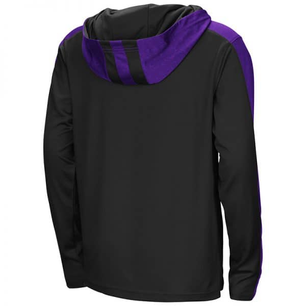 Northwestern University Wildcats Colosseum Youth Black/Purple Heliskiing 1/4 Zip Hooded Windshirt with Stylized N Design-Back
