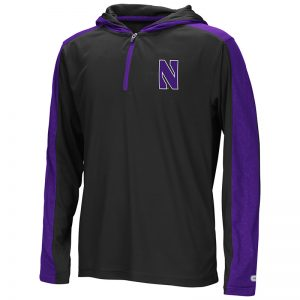 Northwestern University Wildcats Colosseum Youth Black/Purple Heliskiing 1/4 Zip Hooded Windshirt with Stylized N Design