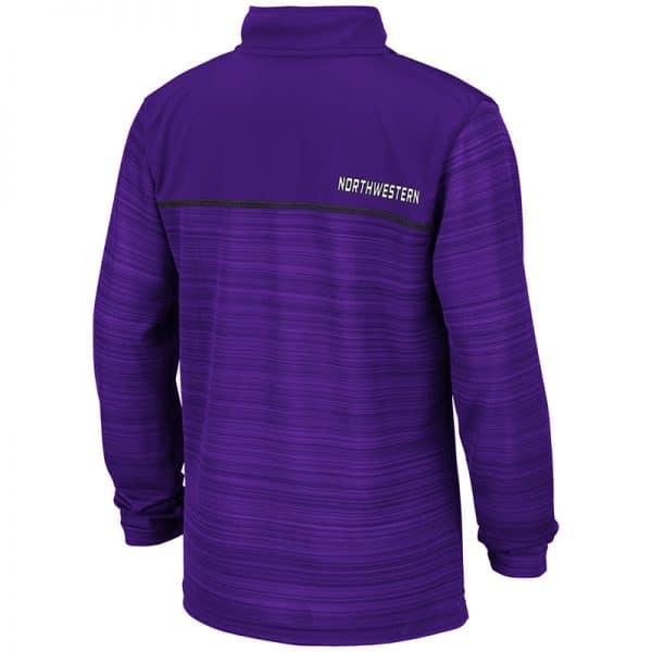 Northwestern University Wildcats Colosseum Youth Purple Salta 1/4 Zip Windshirt with N-Cat Design-Back
