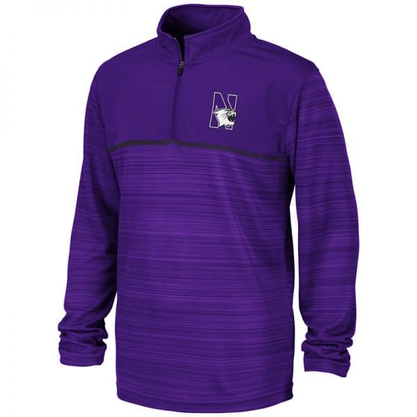 Northwestern University Wildcats Colosseum Youth Purple Salta 1/4 Zip Windshirt with N-Cat Design
