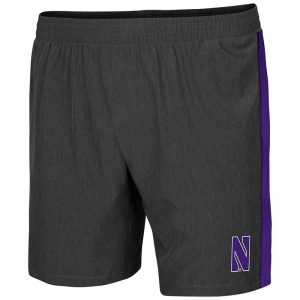 Northwestern University Wildcats Men's Colosseum Heather Charcoal / Purple Spring Training Short with Stylized N Design