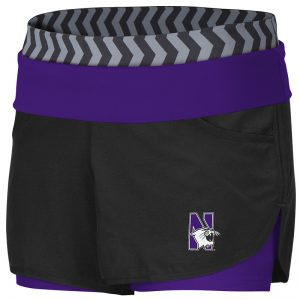Northwestern University Wildcats Colosseum Ladies Black / Pop Purple Over Me Strepurpleh Woven Shorts with N-Cat Design