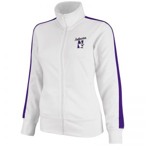 Northwestern University Wildcats Colosseum Ladies White Frenzy Track Jacket with N-Cat Design