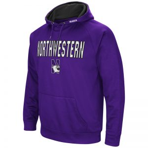 Northwestern University Wildcats Colosseum Men's Purple VF Raglan Poly Pullover Hooded Sweatshirt with N-Cat Design