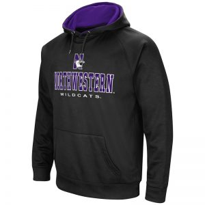 Northwestern University Wildcats Colosseum Men's Black VF Raglan Poly Pullover Hooded Sweatshirt with N-Cat Design