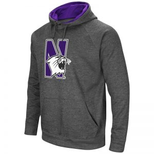 Northwestern University Wildcats Colosseum Men's Heather Charcoal VF Raglan Poly Slub Pullover Hooded Sweatshirt with N-Cat Design