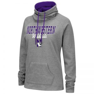Northwestern University Wildcats Colosseum Ladies Heather Grey VF 55/45 Funnelwith N-Cat Design