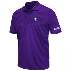 Northwestern University Wildcats Colosseum Mens Solid Purple Stance S/S Polo Shirt with N-Cat Design