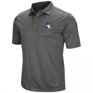 Northwestern University Wildcats Colosseum Mens Heather Charcoal Polo Shirt with N-Cat Design