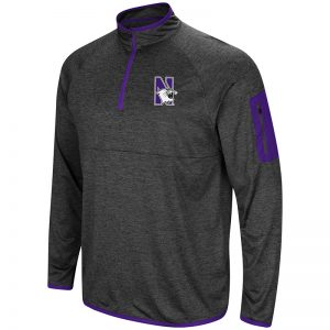 Northwestern University Wildcats Colosseum Men's Heather Charcoal Amnesia 1/4 Zip with N-Cat Design