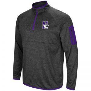 Northwestern University Wildcats Colosseum Men's Heather Charcoal Amnesia 1/4 Zip with N-Cat Design