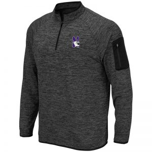Northwestern University Wildcats Colosseum Men's Heather Charcoal 1/4 Zip with N-Cat Designwith N-Cat Design