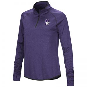 Northwestern University Wildcats Colosseum Ladies Heather Charcoal/Purple Shark 1/4 Zip Pullover with N-Cat Design