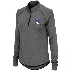 Northwestern University Wildcats Colosseum Ladies Heather Charcoal 1/4 Zipwith N-Cat Design