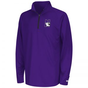 Northwestern University Wildcats Colosseum Youth Purple Draft 1/4 Zipwith N-Cat Design